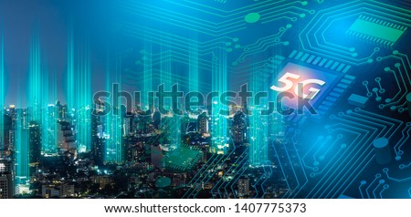 5G network digital hologram and internet of things on city background.Double exposure city of cpu 5g.5G network wireless systems,IoT(Internet of Things),communication network concept. #1407775373