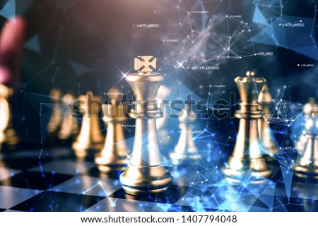 strategy competitive ideas concept with chess board game vintage color tone #1407794048