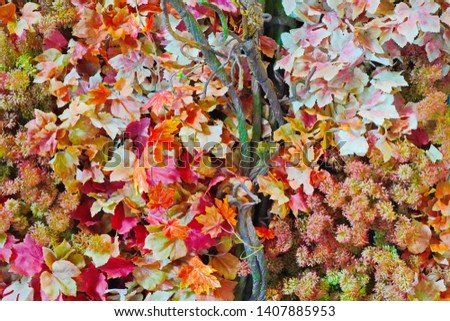 Fake colorful fall foliage leaves texture and background  #1407885953