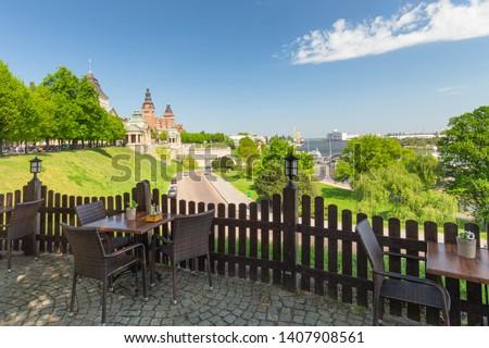 Szczecin.  Panoramic view on Chrobry embankment and waterfront Royalty-Free Stock Photo #1407908561
