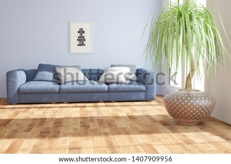 modern room with blue sofa,pillows,plants and frame with picture interior design. 3D illustration #1407909956