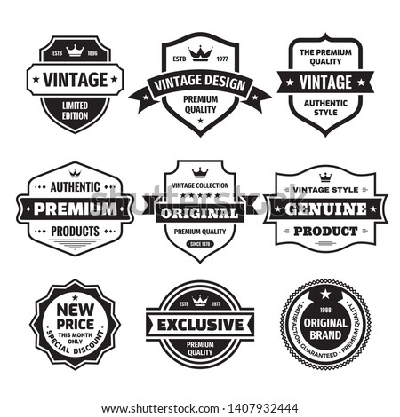 Business badges vector set in retro vintage design style. Abstract logo. Premium quality. Satisfaction guaranteed. Original brand. Exclusive genuine product. Concept labels in black & white colors.  #1407932444