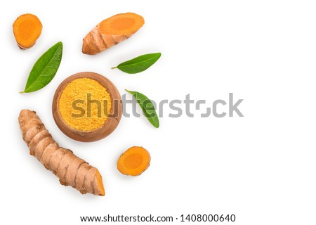 Turmeric powder and turmeric root isolated on white background with copy space for your text. Top view. Flat lay #1408000640