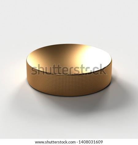 Bronze Ice Hockey Puck isolated #1408031609