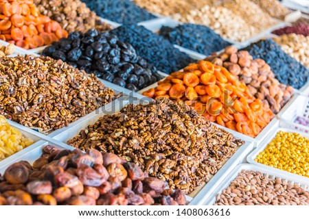 Dried food products sold at the Chorsu Bazaar in Tashkent, Uzbekistan #1408063616
