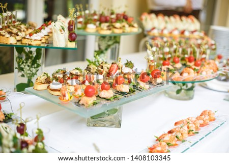 Catering. Off-site food. Buffet table with various canapes, sandwiches, hamburgers and snacks.  #1408103345