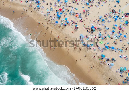 Aerial view of beach goers in Asbury Park, New Jersey on Memorial Day Weekend 2019 #1408135352