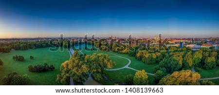 The beautiful view from a drone at the Englischer Garten of Munich at a early morning #1408139663