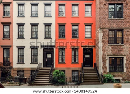 Brownstone facades & row houses  in an iconic neighborhood of Brooklyn Heights in New York City #1408149524