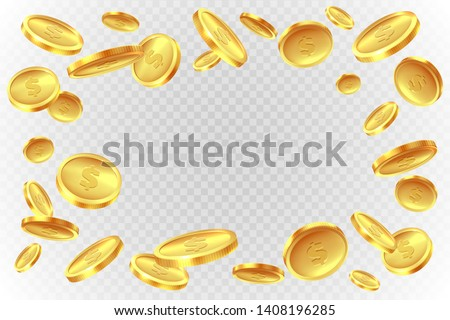 Gold coins explosion. Realistic flying golden raining coin. Monetary fall cash, prize game splash money jackpot lotto casino vector images #1408196285