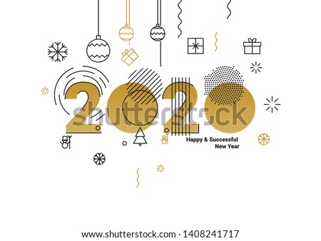 Business Happy New Year 2020 greeting card. Vector illustration concept for background, greeting card, banner for website, social media banner, marketing material #1408241717