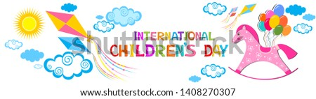 International childrens day. Happy Children day greeting card. Kids day poster. 1 june. Image with text. Congratulatory inscription. Multicolored toys, children's items.  Illustration #1408270307