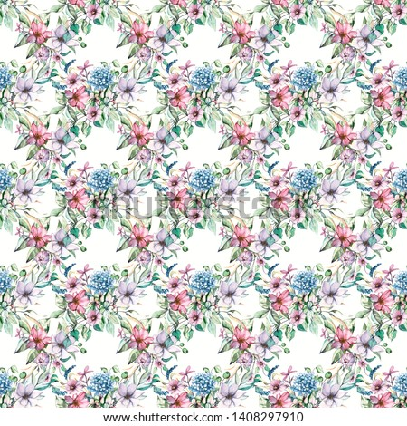 Seamless background, floral repeating pattern with watercolor flowers and leaf. Fabric wallpaper print texture. Hand painting vintage design perfectly for wrapping paper, backdrop, border.  #1408297910