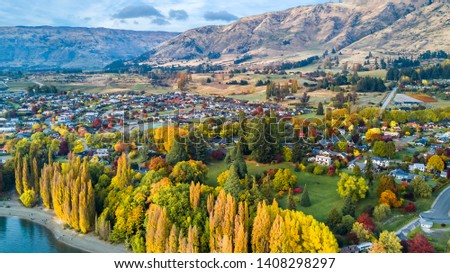 Small town surrounded by yellow autumn trees at the foot of mountain ridge. Wanaka, Otago, South Island, New Zealand #1408298297