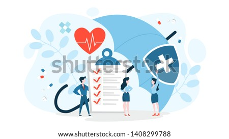 Health insurance concept. Big clipboard with document on it under the umbrella. Healthcare, finance and medical service. Isolated vector illustration in cartoon style #1408299788