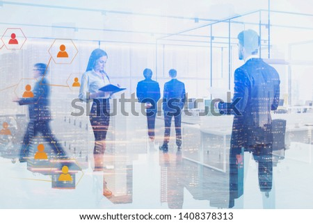 Business people walking and communicating in modern office with double exposure of social connection icons and cityscape. Concept of HR and business network. Toned image blurred