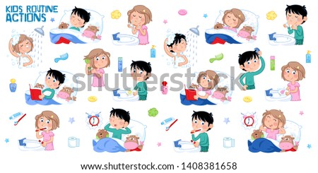Kids and daily routines - Eight daily routine actions - Little boy with dark hair and little girl with light brown hair - Isolated on the white background