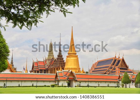 Wat Pra Kaew or Phra Sri Rattana Satsadaram, sacred temple of Emerald Buddha, grand palace of Ratanakosin at Bangkok Thailand, traditional art and architecture Thai style, destination of tourist #1408386551