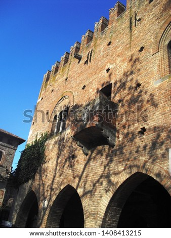 loggia of a historic building in brick  #1408413215