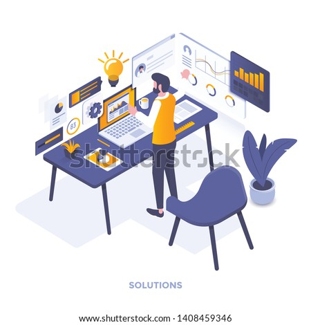 Modern flat design isometric illustration of Solutions. Can be used for website and mobile website or Landing page. Easy to edit and customize. Vector illustration
