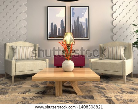 interior with chair. 3d illustration. #1408506821