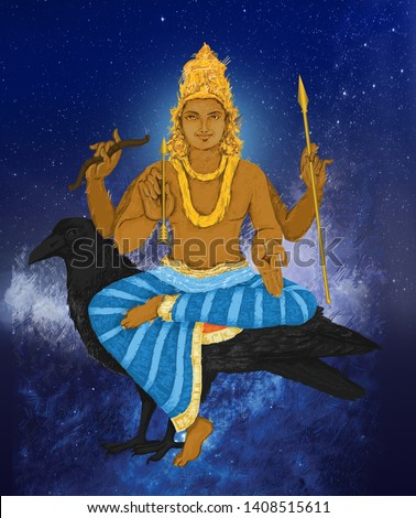 Hand-painted, abstract, watercolor art depicting Lord Saturn. In Vedic astrology, Saturn is called Shani. He is also one of the nine planets (Navagrahas) mentioned in Hindu texts.