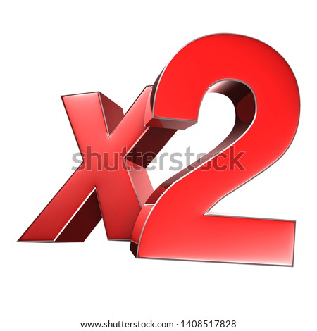 X2 3D rendering on white background.(with Clipping Path).