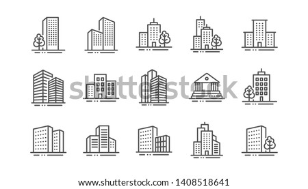 Buildings line icons. Bank, Hotel, Courthouse. City, Real estate, Architecture buildings icons. Hospital, town house, museum. Urban architecture, city skyscraper. Linear set. Vector Royalty-Free Stock Photo #1408518641