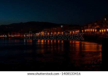 night landscape with background lights #1408533416