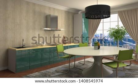 Interior dining area. 3d illustration. #1408545974