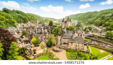 Panoramic landscape of Durbuy, Belgium. Smallest city in the world. Royalty-Free Stock Photo #1408571276