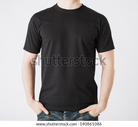 close up of man in blank t-shirt Royalty-Free Stock Photo #140861086