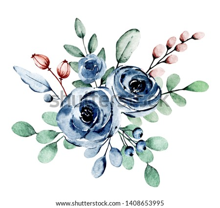 Watercolor indigo flowers roses. Floral clip art. Perfectly for printing design on invitation, card, wall art and other. Isolated on white background. Hand painting.