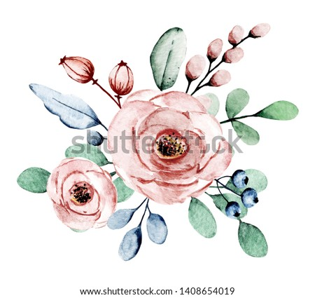 Watercolor dusty pink flowers roses. Floral clip art. Perfectly for printing design on invitation, card, wall art and other. Isolated on white background. Hand painting.