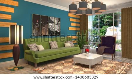 Interior of the living room. 3D illustration. #1408683329