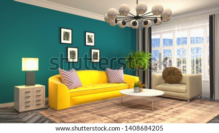 Interior of the living room. 3D illustration. #1408684205