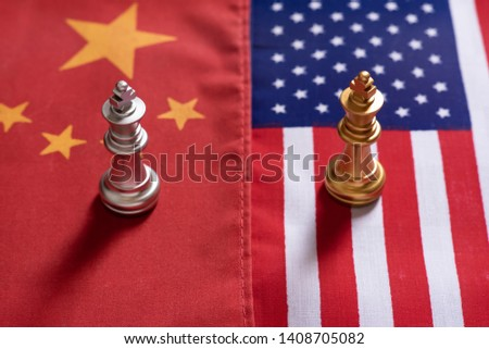 Chess game, two king stand confront on China and US national flags. Trade war concept. Conflict between two big countries, USA and China concept. Copy space. #1408705082