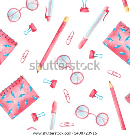 Watercolor pattern with pink and blue school supplies. Backpack, ruler, pens, markers, pencils, paper clips and bells.