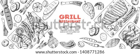 Grilled meat and vegetables top view frame. Vector illustration. Engraved design. Hand drawn illustration. Grill restaurant menu design template. Food on the grill.  #1408771286