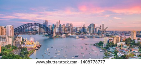 Downtown Sydney skyline in Australia from top view at twilight  #1408778777