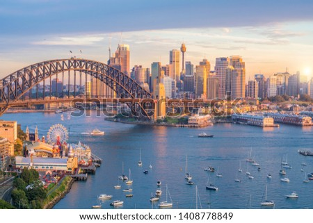 Downtown Sydney skyline in Australia from top view at twilight  #1408778849