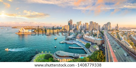 Downtown Sydney skyline in Australia from top view at twilight  #1408779338