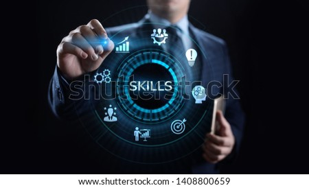 Skills Education Learning Personal development Competency Business concept. Royalty-Free Stock Photo #1408800659