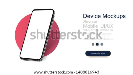 Smartphone frame less blank screen, rotated position. 3d isometric illustration cell phone. Smartphone perspective view. Template for infographics or presentation UI design interface. vector #1408816943