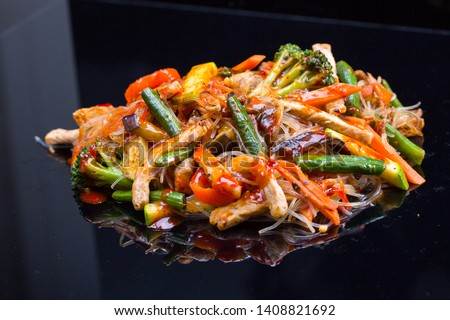Asian vegetables and beef chicken meat noodles. Restaurant menu #1408821692