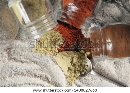 Kitchen. Flour, honey and spices on a wooden table #1408827668
