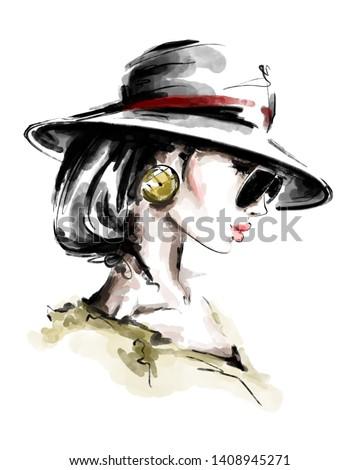 Hand drawn beautiful young woman in hat. Stylish elegant girl. Fashion woman look. Sketch. Fashion illustration.
