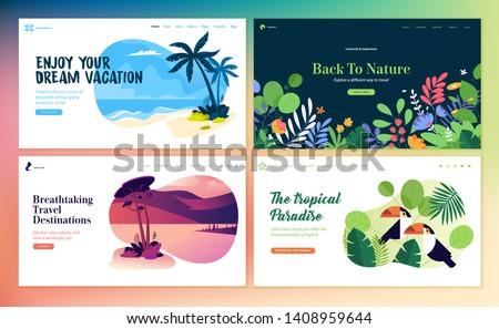 Set of flat design web page templates of summer vacation, travel destination, nature, tourism . Modern vector illustration concepts for website and mobile website development.  #1408959644