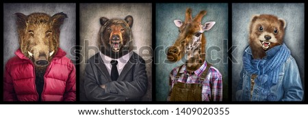 Animals in clothes. People with heads of animals. Concept graphic, photo manipulation for cover, advertising, prints on clothing and other. Boar, bear, giraffe, weasel. #1409020355