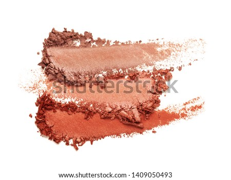 Eye shadow glitter shimmer red brown multi colored texture background white isolated  #1409050493